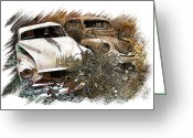 Old Car Pyrography Greeting Cards - Wreck 3 Greeting Card by Mauro Celotti