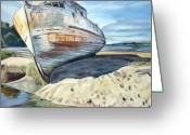 Marin Greeting Cards - Wreck of the Old Pt. Reyes Greeting Card by Colleen Proppe
