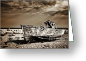 Fishing Boat Greeting Cards - Wrecked Greeting Card by Meirion Matthias