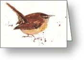Wren Greeting Cards - Wren - Cheeky Wren Greeting Card by Alison Fennell
