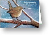 Faith Pastels Greeting Cards - Wren in Snow with Bible Verse Greeting Card by Joyce Geleynse