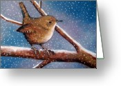 Woods Pastels Greeting Cards - Wren in Winter Greeting Card by Joyce Geleynse