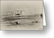 Airplane Greeting Cards - Wright Brothers - First in Flight Greeting Card by Bill Cannon