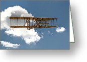 Plane Greeting Cards - Wright Brothers First Flight Greeting Card by Randy Steele