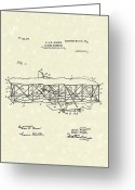 Patent Artwork Greeting Cards - Wright  Brothers Flying Machine 1906 Patent Art Greeting Card by Prior Art Design