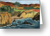 Friendly Pastels Greeting Cards - Wrights Beach Greeting Card by Amelia Hunter