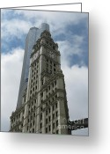 Large Clock Greeting Cards - Wrigley Building Greeting Card by Arlene Carmel