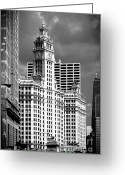 Highrises Greeting Cards - Wrigley Building Chicago Illinois Greeting Card by Christine Till
