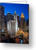 Michigan Greeting Cards - Wrigley Building Night Greeting Card by Steve Gadomski