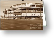 Wrigley Greeting Cards - Wrigley Field Greeting Card by David Bearden
