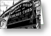 Buildings Drawings Greeting Cards - Wrigley Field Marquee Greeting Card by Bruce Kay