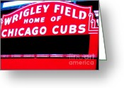 Baseball Poster Greeting Cards - Wrigley Field Sign Greeting Card by Marsha Heiken