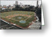 Wrigley Field Greeting Cards - Wrigley Mosaic Greeting Card by David Bearden