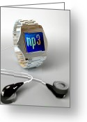 Player Photo Greeting Cards - Wrist Watch Mp3 Player Greeting Card by Christian Darkin
