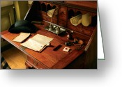Reds Greeting Cards - Writer - The desk of a gentleman  Greeting Card by Mike Savad