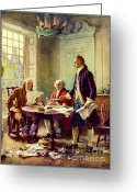 Historical Document Greeting Cards - Writing Declaration of Independence Greeting Card by Pg Reproductions