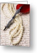 Note Greeting Cards - Writing pen and perals  Greeting Card by Garry Gay
