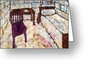 Fine Art Batik Tapestries - Textiles Greeting Cards - Writing Room Batik Greeting Card by Kristine Allphin