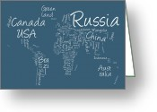 Canvas Greeting Cards - Writing Text Map of the World Map Greeting Card by Michael Tompsett