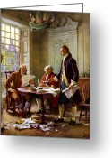 Founding Fathers Painting Greeting Cards - Writing The Declaration of Independence Greeting Card by War Is Hell Store