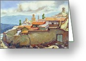 Incas Greeting Cards - WS1955BO001 Landscape of Potosi 13.75X9.75 Greeting Card by Alfredo Da Silva