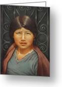 Andean Greeting Cards - WS1979BO002Potosi Miriana 14x20 Greeting Card by Alfredo Da Silva