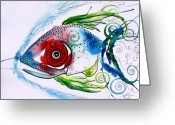 Ink Greeting Cards - WTFish 001 Greeting Card by J Vincent Scarpace