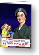 Political Propaganda Digital Art Greeting Cards - WW2 US Cadet Nurse Corps Greeting Card by War Is Hell Store