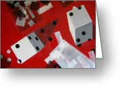 Dice Painting Greeting Cards - Wwhite Dice With Runaway Dots Greeting Card by Evguenia Men