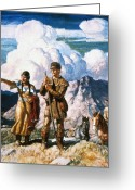 Pointing Painting Greeting Cards - Wyeth: Sacajawea Greeting Card by Granger