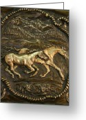 Design Reliefs Greeting Cards - Wyoming Horses Greeting Card by Dawn Senior-Trask