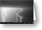 Lightning Bolt Pictures Greeting Cards - X In The Sky in Black and White Greeting Card by James Bo Insogna