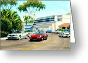 Jaguar E Type Greeting Cards - X-KE in Laguna Greeting Card by Frank Dalton