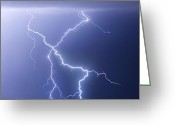 Lightning Weather Stock Images Greeting Cards - X Lightning Bolt In The Sky Greeting Card by James Bo Insogna