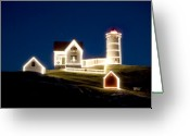 York Maine Greeting Cards - X-mas Nubble Greeting Card by Greg Fortier