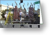 Lights Sculpture Greeting Cards - Xfest Modesto Ca. Stage Greeting Card by Steve Mudge
