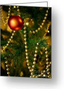 Glowing Greeting Cards - Xmas Ball Greeting Card by Carlos Caetano