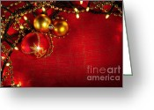 Glowing Star Greeting Cards - Xmas Frame Greeting Card by Carlos Caetano