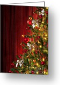Shimmer Greeting Cards - Xmas tree on red Greeting Card by Carlos Caetano