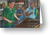 Mexican Pastels Greeting Cards - Xylophone Players Greeting Card by Jim Barber Hove