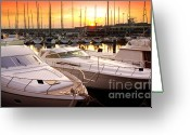 Yellow Line Greeting Cards - Yacht Marina Greeting Card by Carlos Caetano