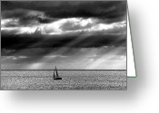 Horizon Over Water Greeting Cards - Yacht Sailing Just Off Brighton Beach Greeting Card by Alan Mackenzie