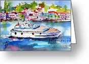 Ginette Fine Art Llc Ginette Callaway Greeting Cards - Yachting off the coast of Amalfi Italy Watercolor Greeting Card by Ginette Fine Art LLC Ginette Callaway