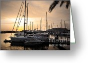 Ropes Greeting Cards - Yachts at Sunset Greeting Card by Carlos Caetano