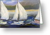 Pamela Meredith Greeting Cards - Yachts Sailing off the Coast Greeting Card by Pamela  Meredith