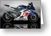 Riders Greeting Cards - Yamaha Rossi rep Greeting Card by Carl Shellis