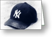 Ny Yankees Baseball Art Greeting Cards - Yankee Cap blue toned Greeting Card by John Rizzuto