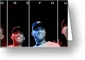 New York Yankees Greeting Cards - Yankee Core Four by GBS Greeting Card by Anibal Diaz