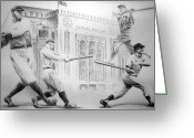 Mickey Mantle Drawings Greeting Cards - Yankee Greats Greeting Card by Adam Barone