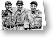 Lefty Gomez Greeting Cards - Yankee Legends Greeting Card by Bruce Kay